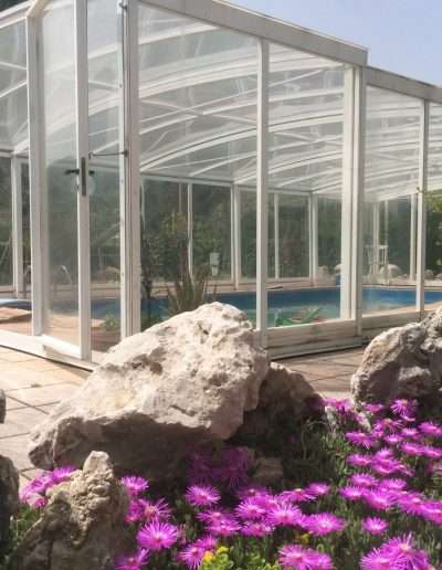 copertura scorrevole in ferro per piscina